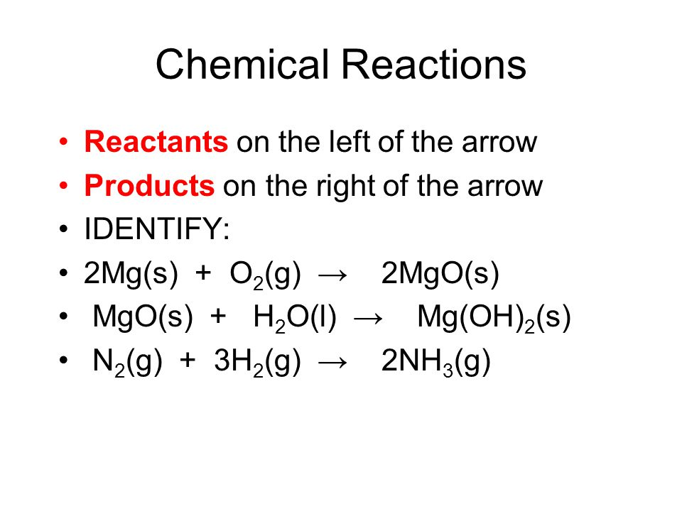 Chemical Reactions Reactants on the left of the arrow