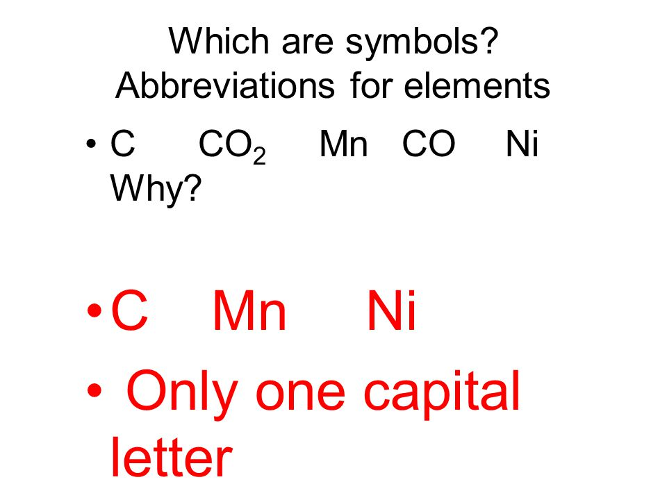 Which are symbols Abbreviations for elements