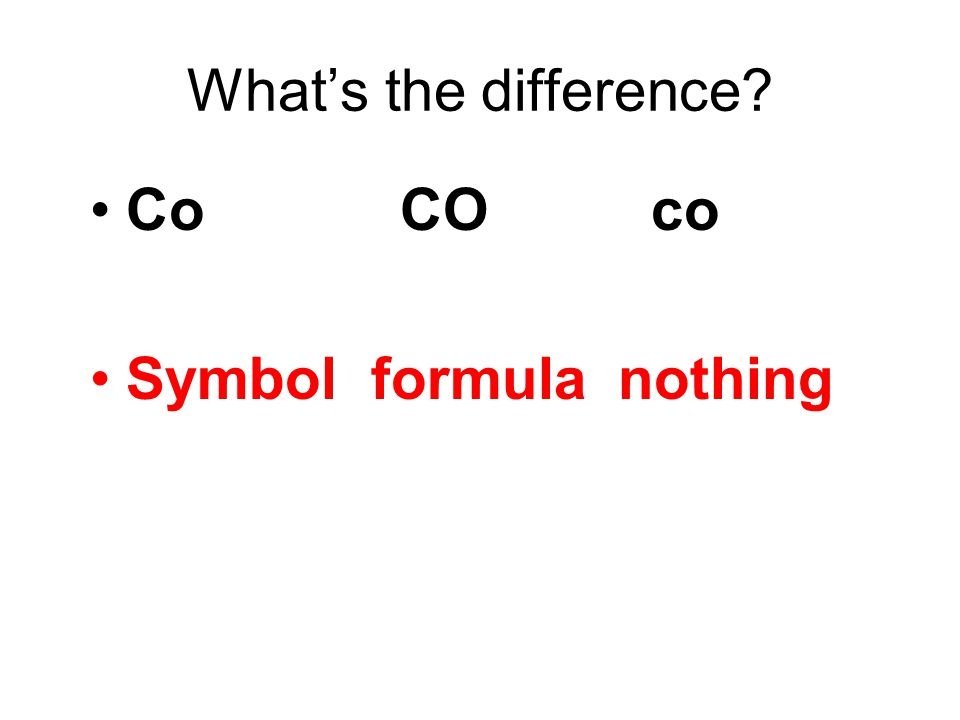 What's the difference Co CO co Symbol formula nothing