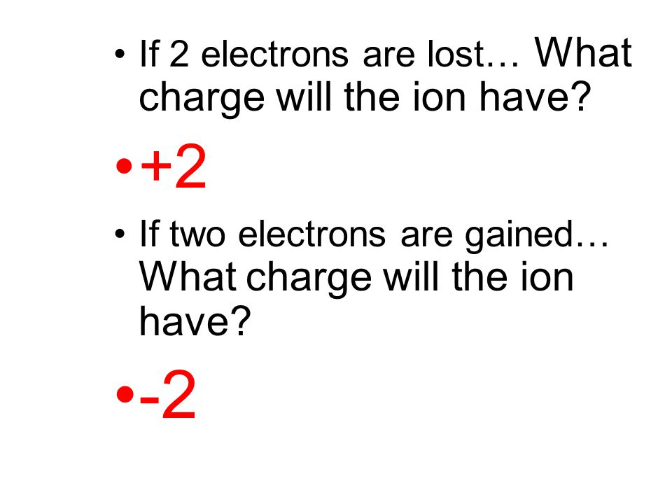 -2 +2 If 2 electrons are lost… What charge will the ion have