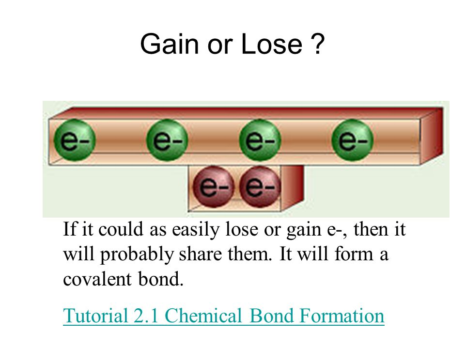 Gain or Lose If it could as easily lose or gain e-, then it will probably share them. It will form a covalent bond.