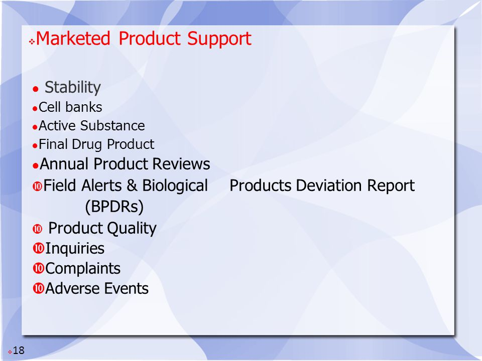 Marketed Product Support
