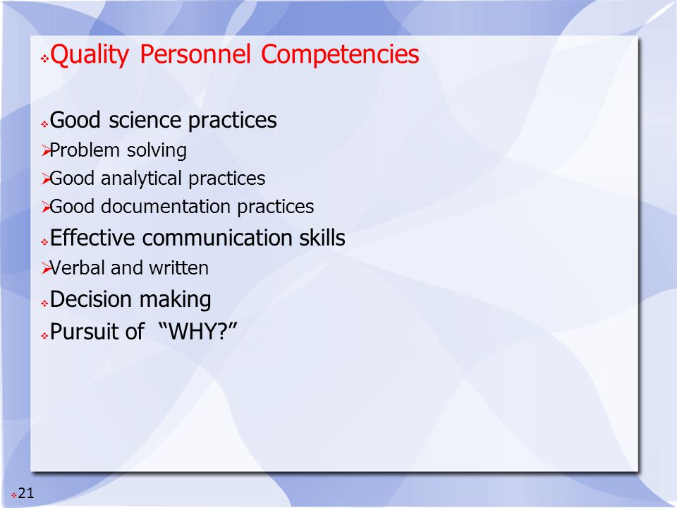 Quality Personnel Competencies