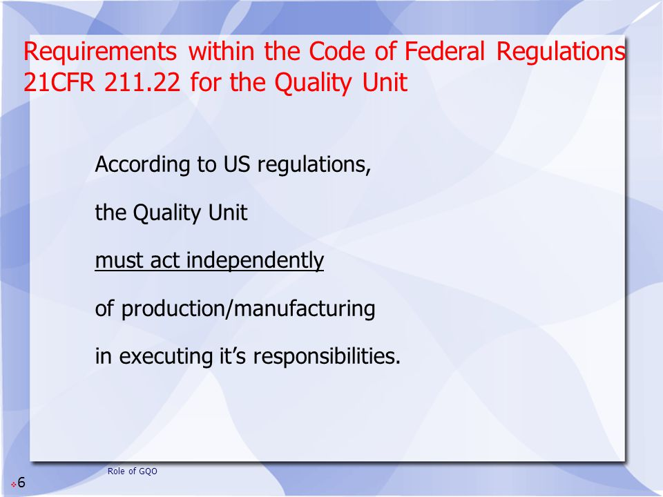 Requirements within the Code of Federal Regulations 21CFR 211