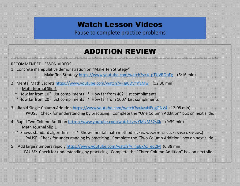 Teacher Explanation (not for students) youtube  com/watch