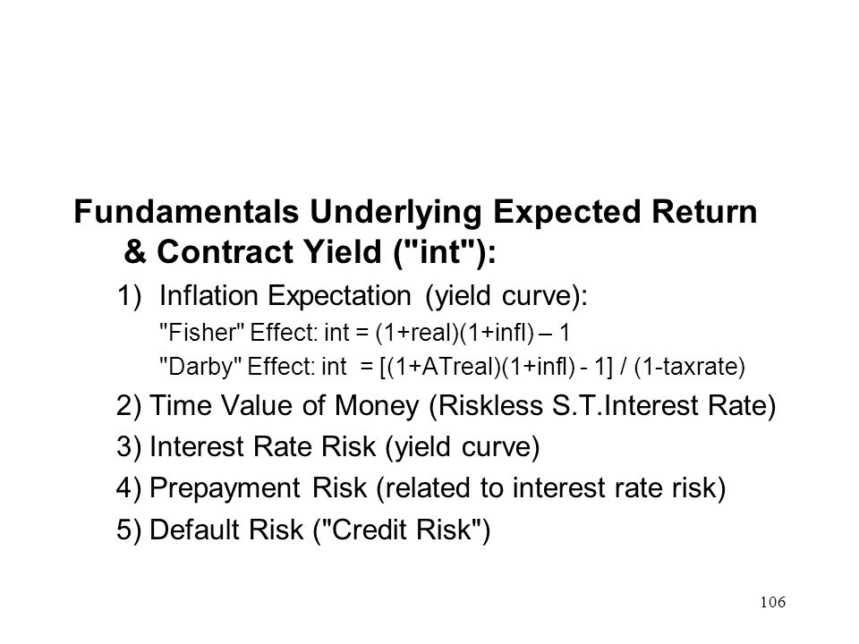Fundamentals Underlying Expected Return & Contract Yield ( int ):