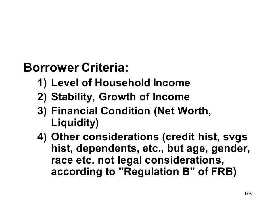 Borrower Criteria: Level of Household Income