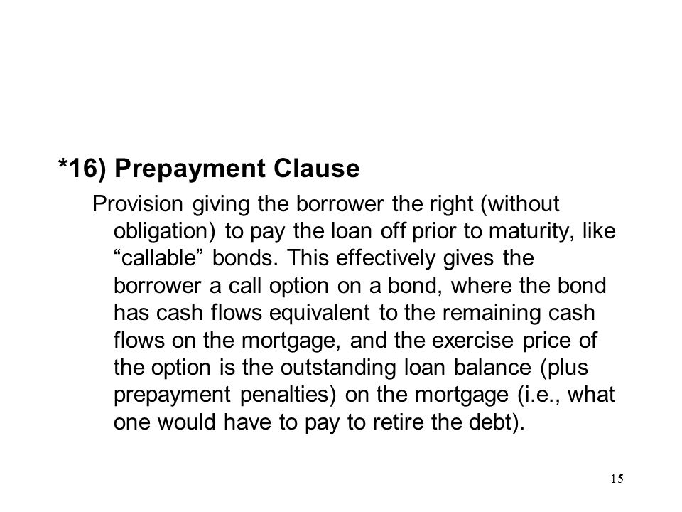 *16) Prepayment Clause