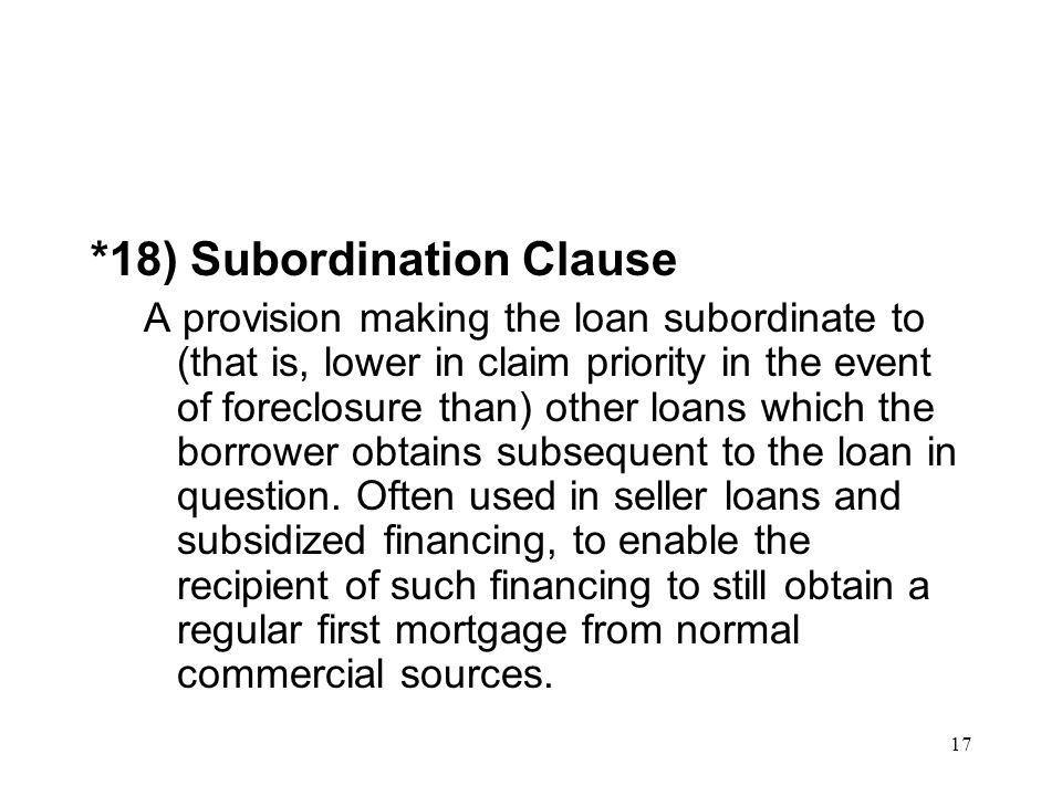 *18) Subordination Clause