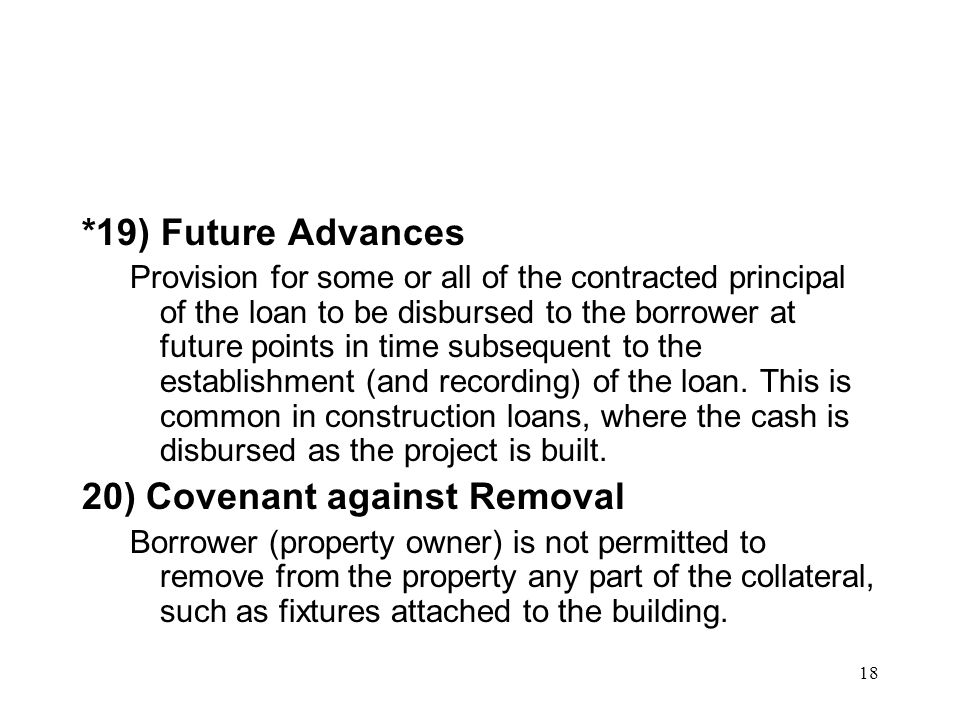 20) Covenant against Removal