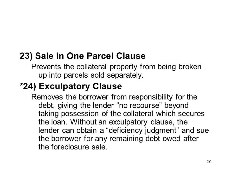 23) Sale in One Parcel Clause