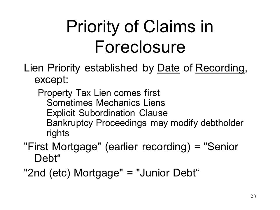 Priority of Claims in Foreclosure