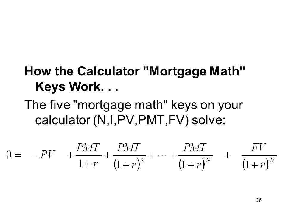 How the Calculator Mortgage Math Keys Work. . .