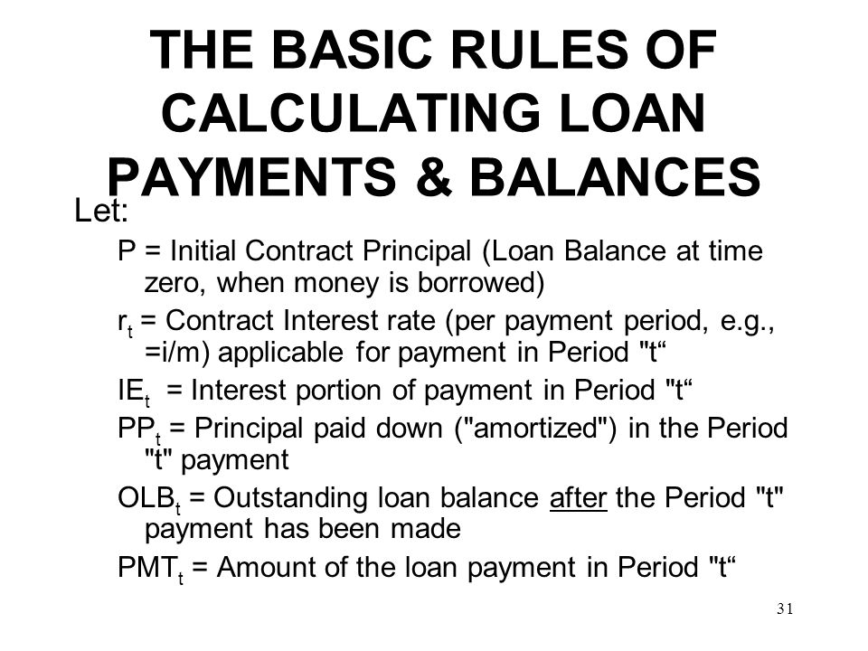 THE BASIC RULES OF CALCULATING LOAN PAYMENTS & BALANCES
