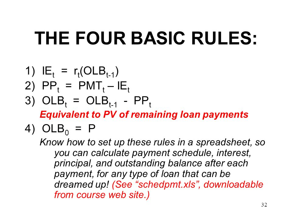 THE FOUR BASIC RULES: IEt = rt(OLBt-1) PPt = PMTt – IEt