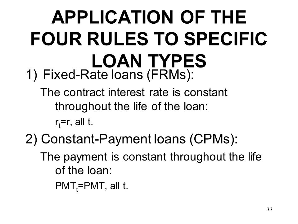 APPLICATION OF THE FOUR RULES TO SPECIFIC LOAN TYPES
