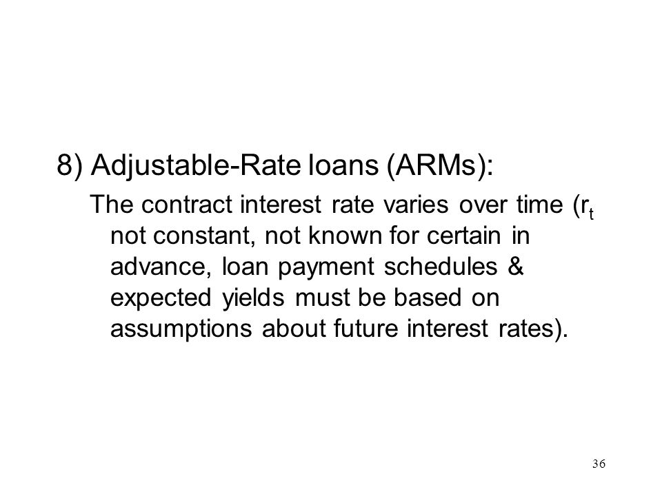 8) Adjustable-Rate loans (ARMs):