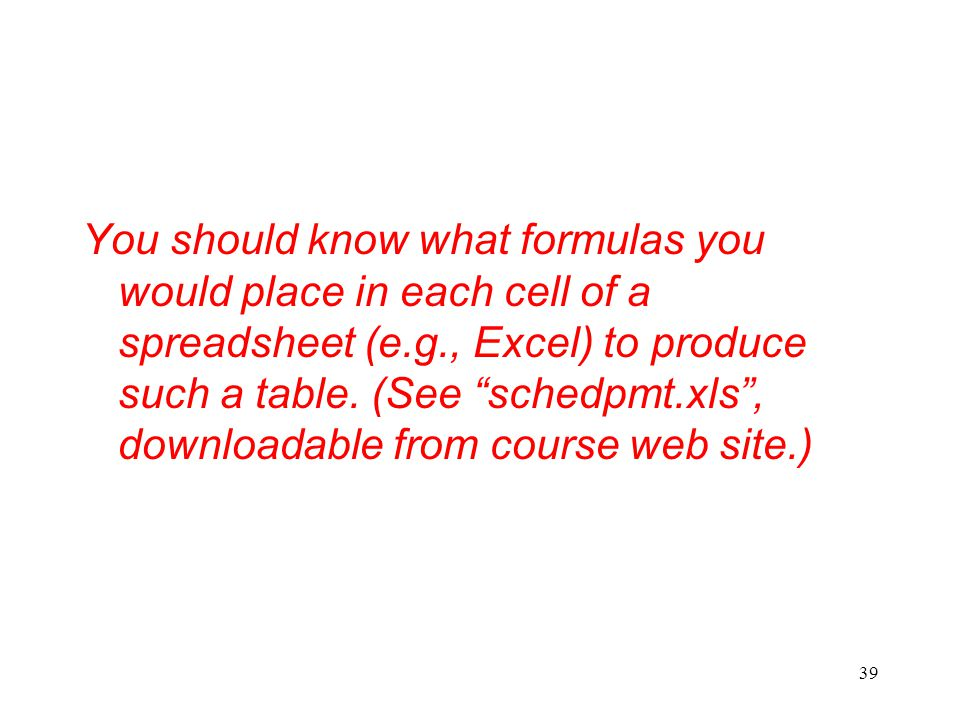 You should know what formulas you would place in each cell of a spreadsheet (e.g., Excel) to produce such a table.
