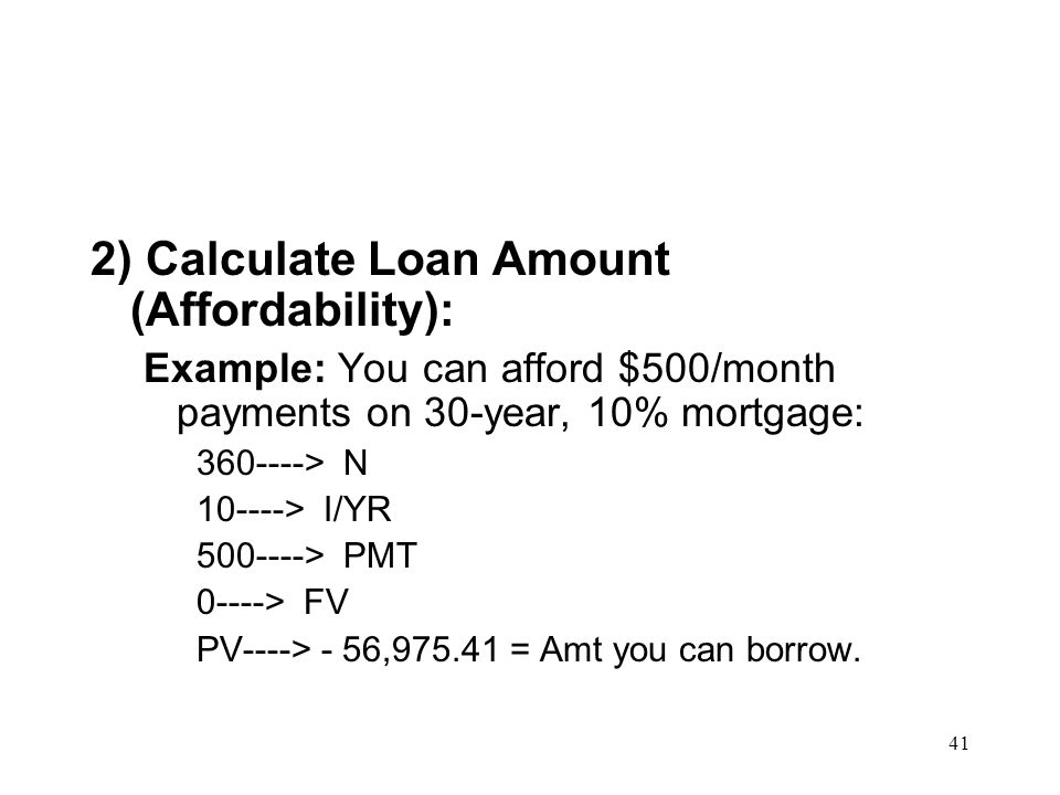 2) Calculate Loan Amount (Affordability):