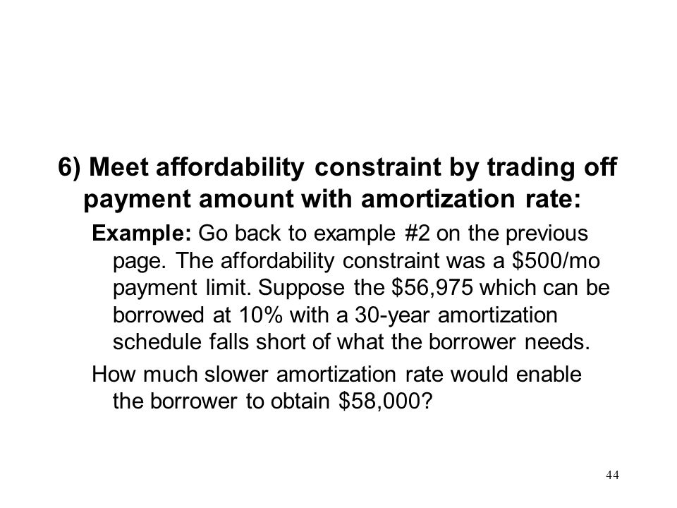 6) Meet affordability constraint by trading off payment amount with amortization rate: