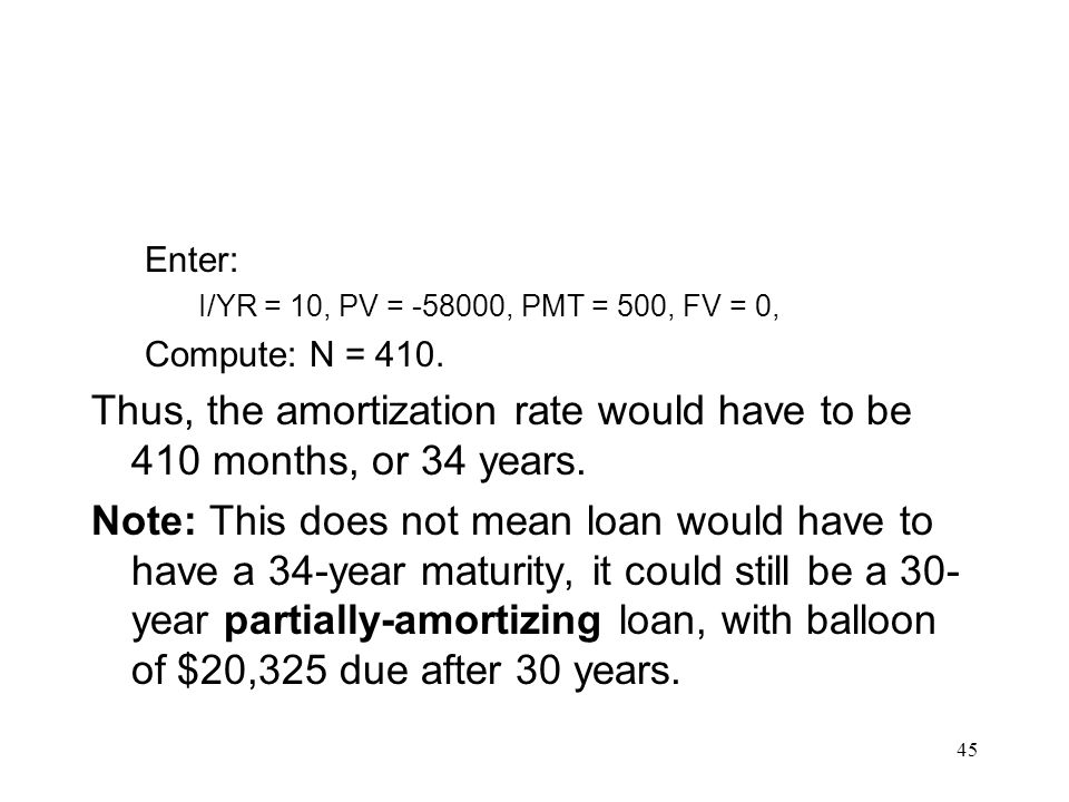 Thus, the amortization rate would have to be 410 months, or 34 years.