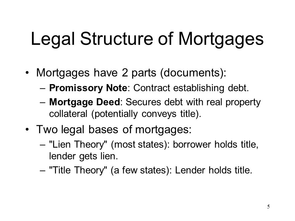 Legal Structure of Mortgages