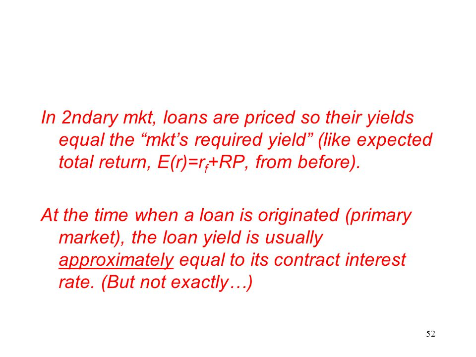 In 2ndary mkt, loans are priced so their yields equal the mkt's required yield (like expected total return, E(r)=rf+RP, from before).