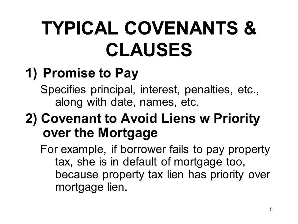 TYPICAL COVENANTS & CLAUSES