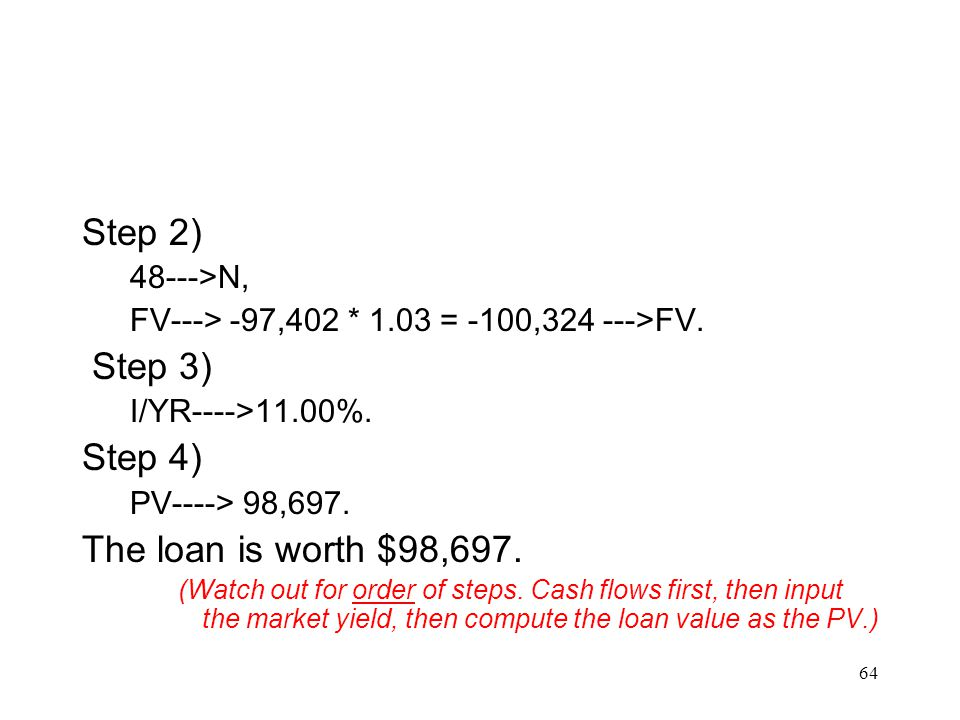 Step 2) Step 3) Step 4) The loan is worth $98,697. 48--->N,