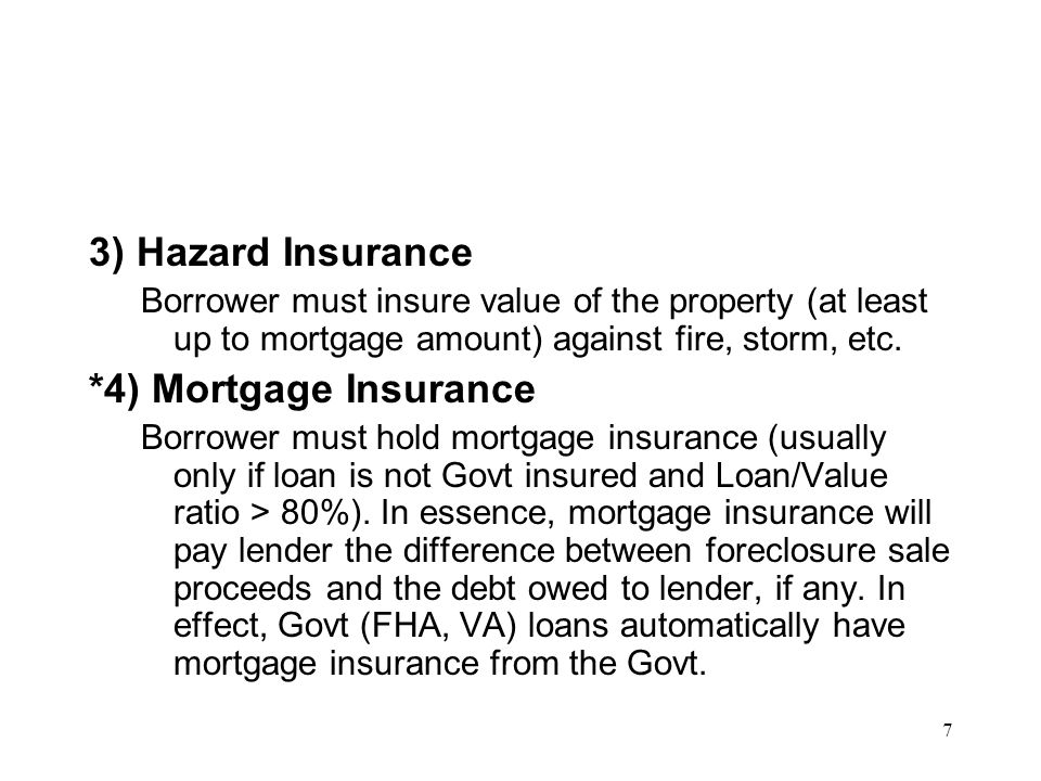 3) Hazard Insurance *4) Mortgage Insurance