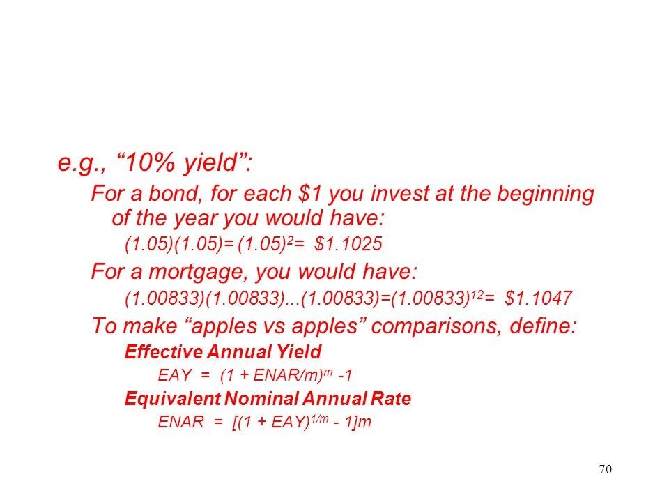 e.g., 10% yield : For a bond, for each $1 you invest at the beginning of the year you would have: (1.05)(1.05)= (1.05)2= $1.1025.