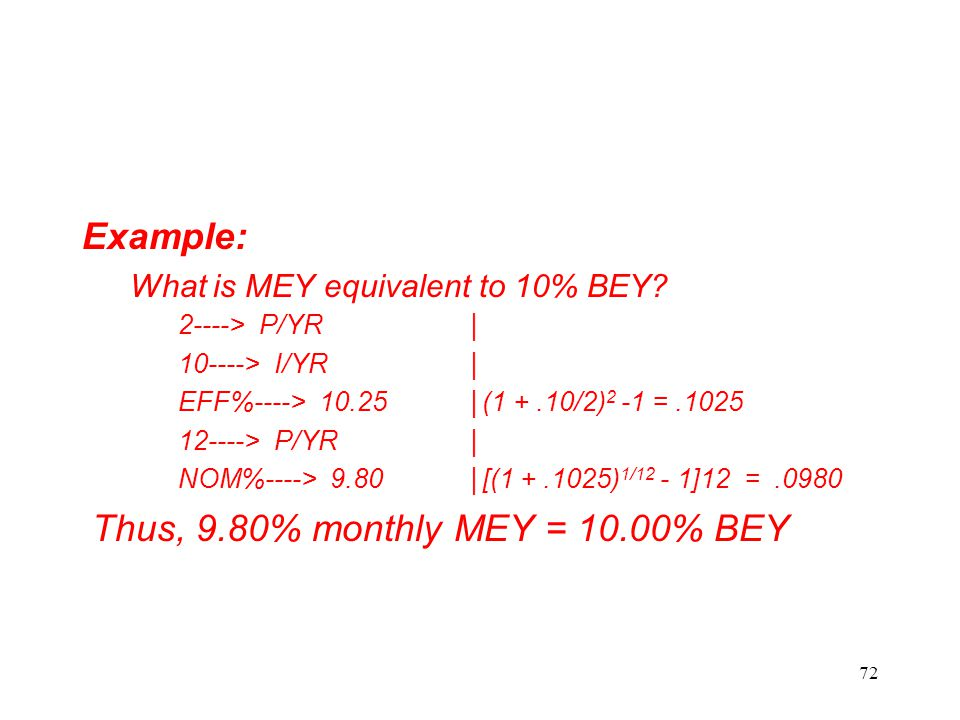 Thus, 9.80% monthly MEY = 10.00% BEY