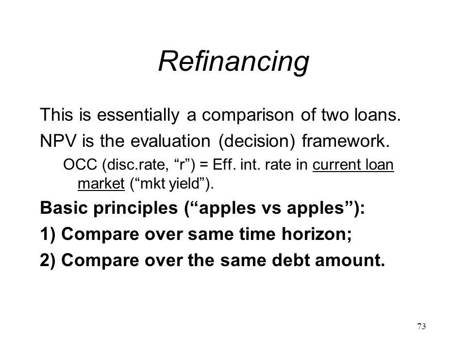 Refinancing This is essentially a comparison of two loans.