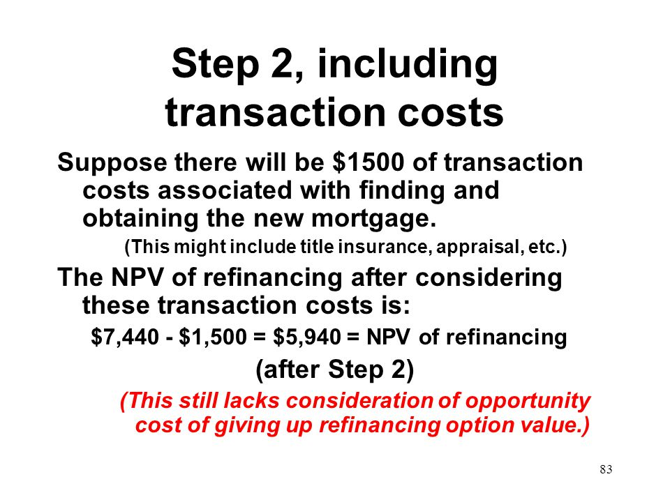 Step 2, including transaction costs