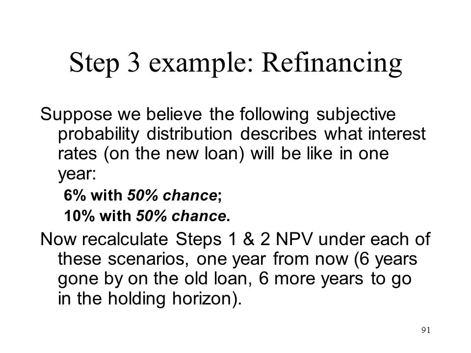Step 3 example: Refinancing