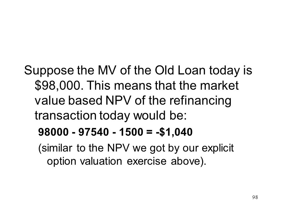 Suppose the MV of the Old Loan today is $98,000