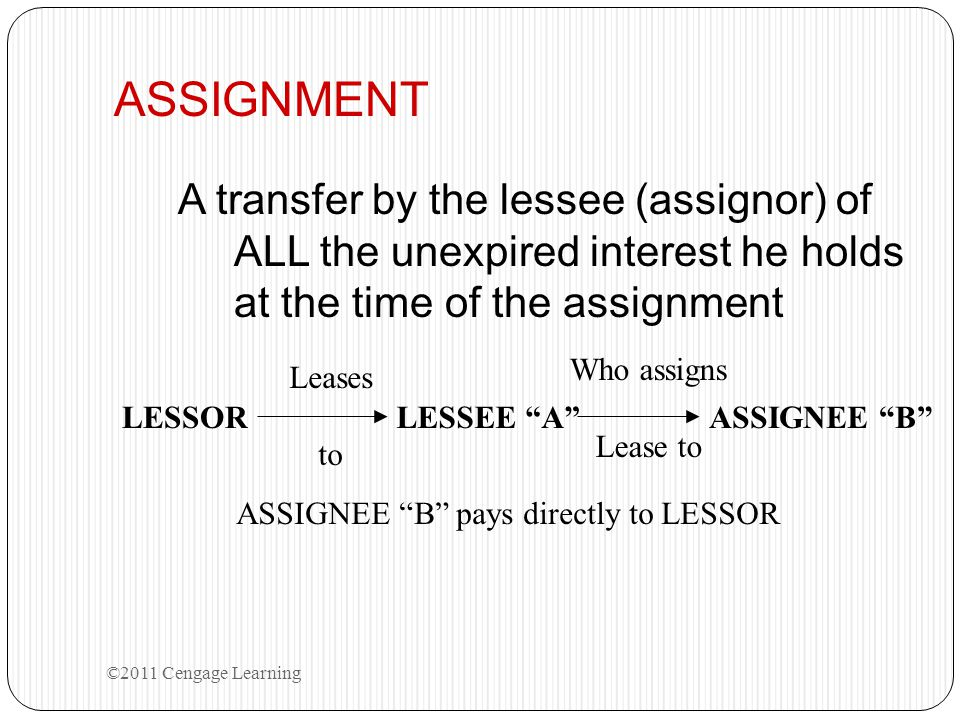 ASSIGNMENT A transfer by the lessee (assignor) of ALL the unexpired interest he holds at the time of the assignment.