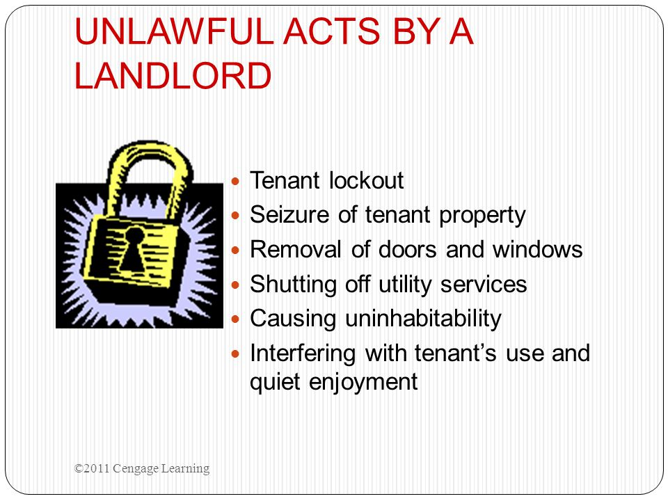 UNLAWFUL ACTS BY A LANDLORD