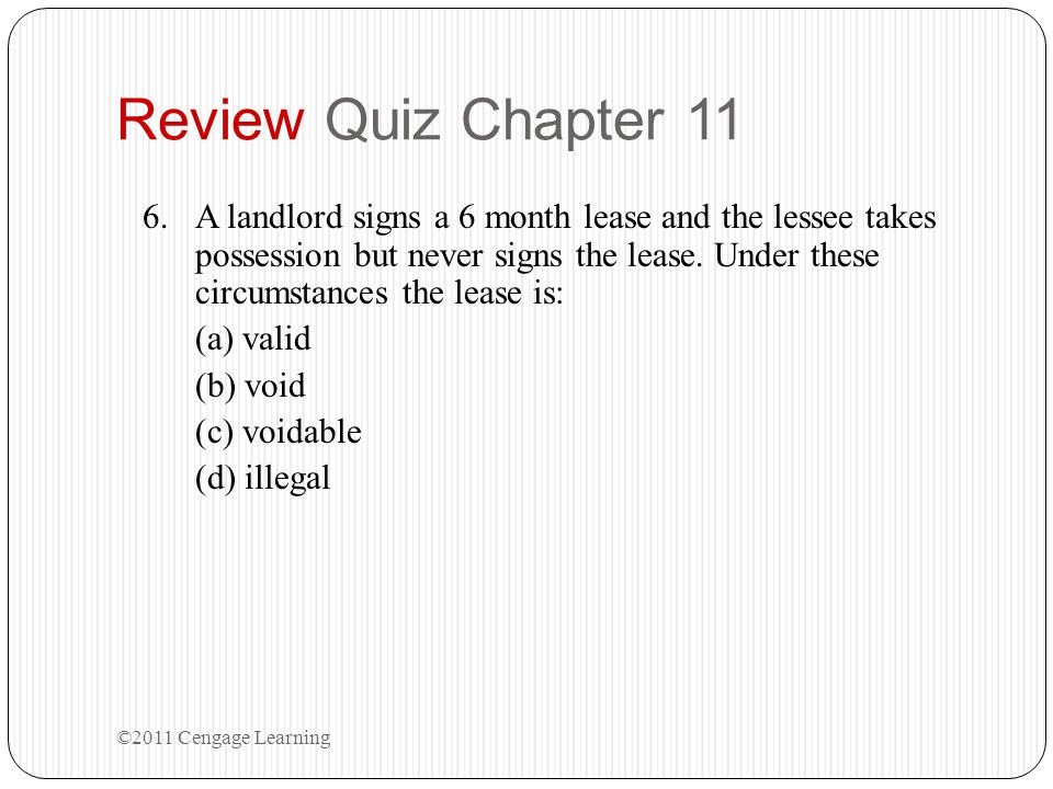 Review Quiz Chapter 11
