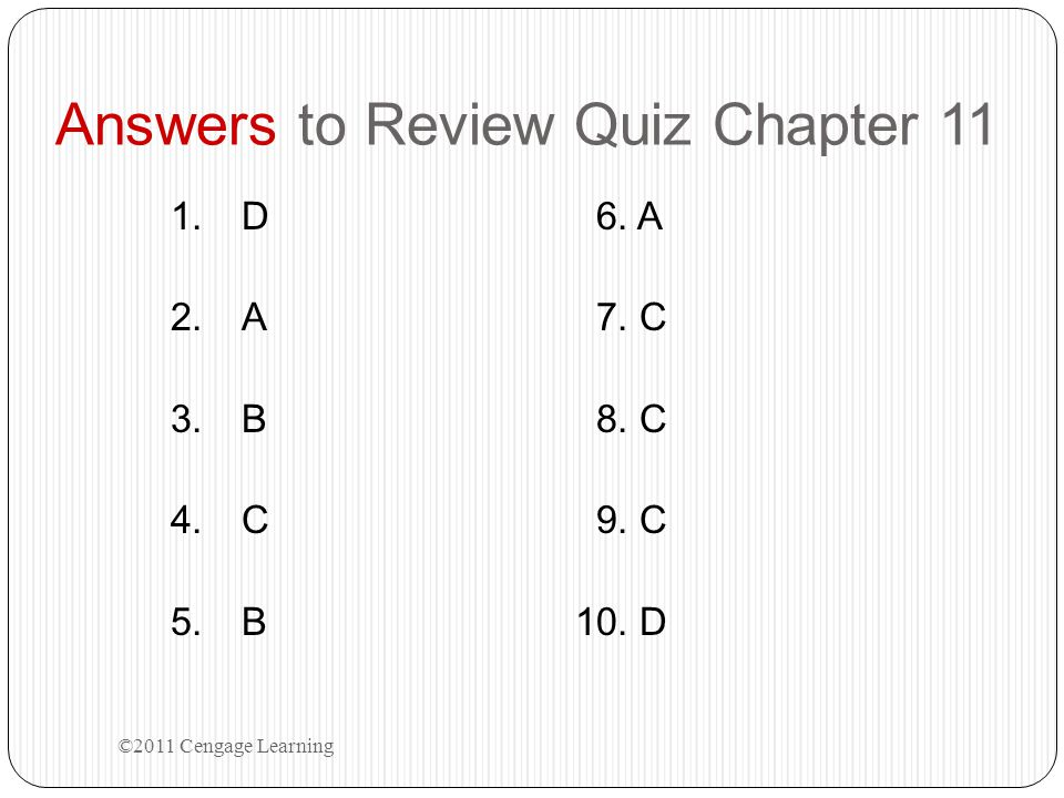 Answers to Review Quiz Chapter 11