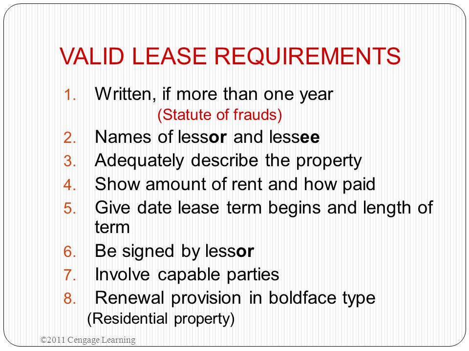 VALID LEASE REQUIREMENTS