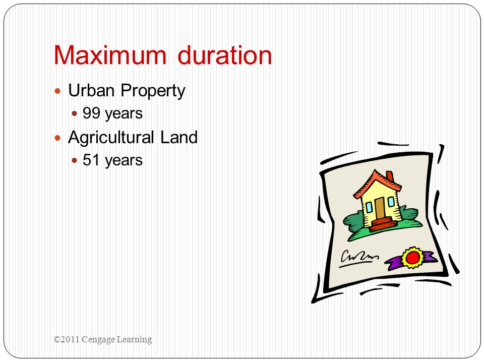 Maximum duration Urban Property Agricultural Land 99 years 51 years