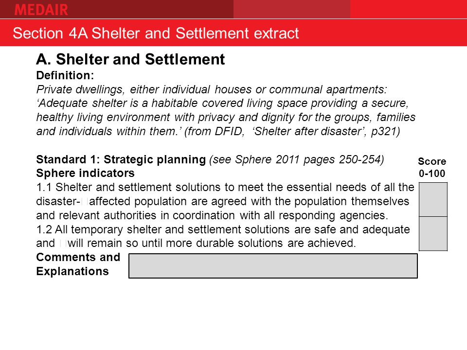 Section 4A Shelter and Settlement extract