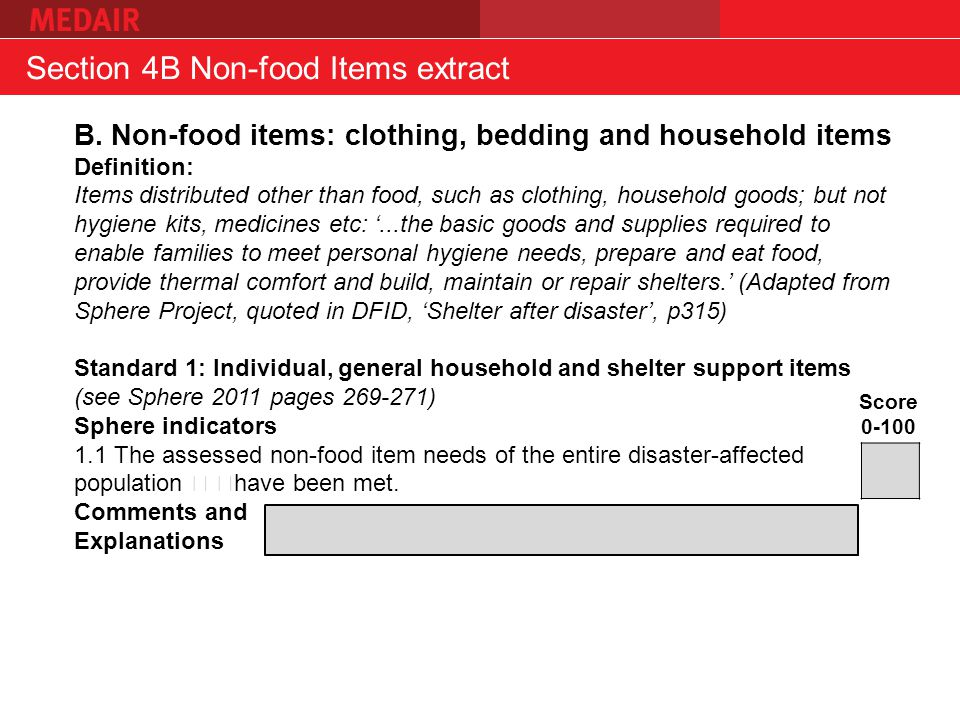 Section 4B Non-food Items extract