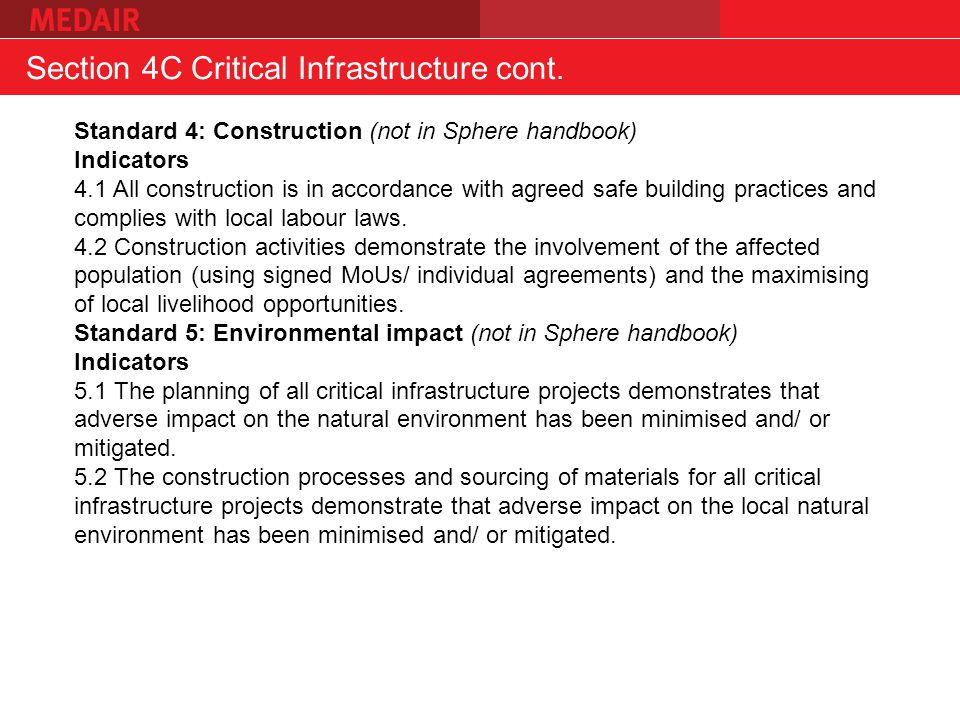 Section 4C Critical Infrastructure cont.