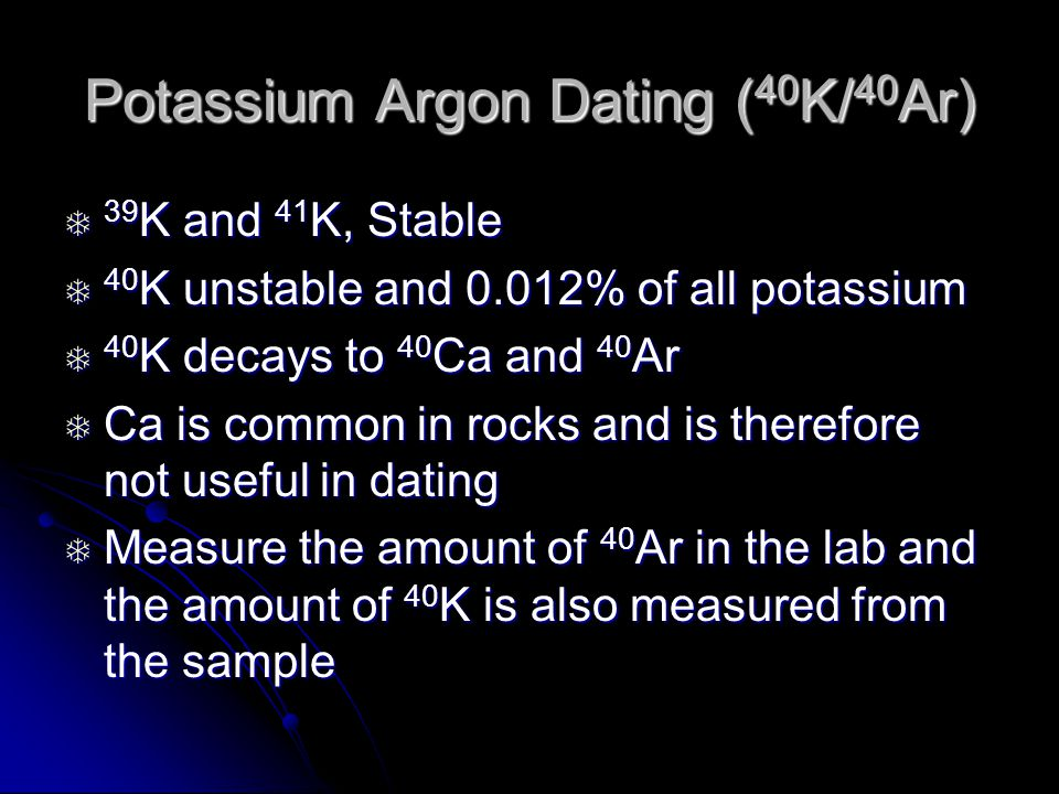 potassium argon dating age range