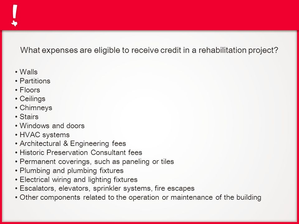 What expenses are eligible to receive credit in a rehabilitation project