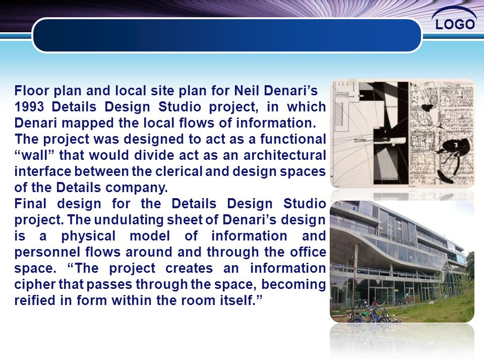 Floor plan and local site plan for Neil Denari's