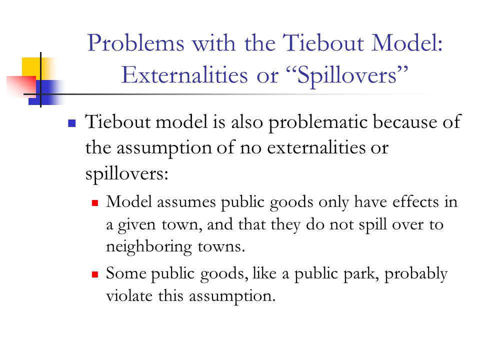 Problems with the Tiebout Model: Externalities or Spillovers
