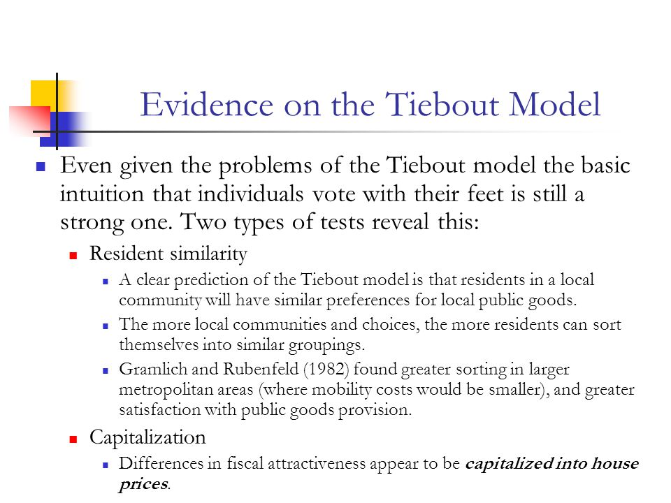 Evidence on the Tiebout Model